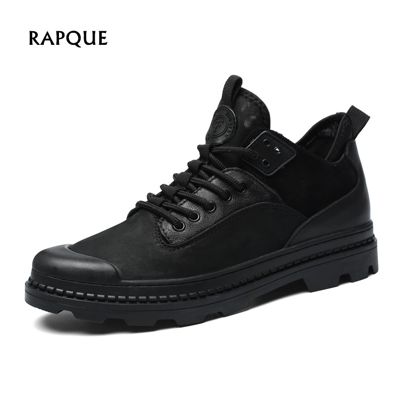 2018 Super Winter Casual Shoes Men Genuine Leather handmade Short Bootie Male boots warm winter mens