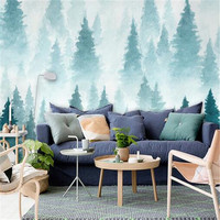 Custom Wallpaper Photo Mural Minimalist Ink Wallpaper Roll Mood Pine Tree Wallpapers For Living Room Relaxed