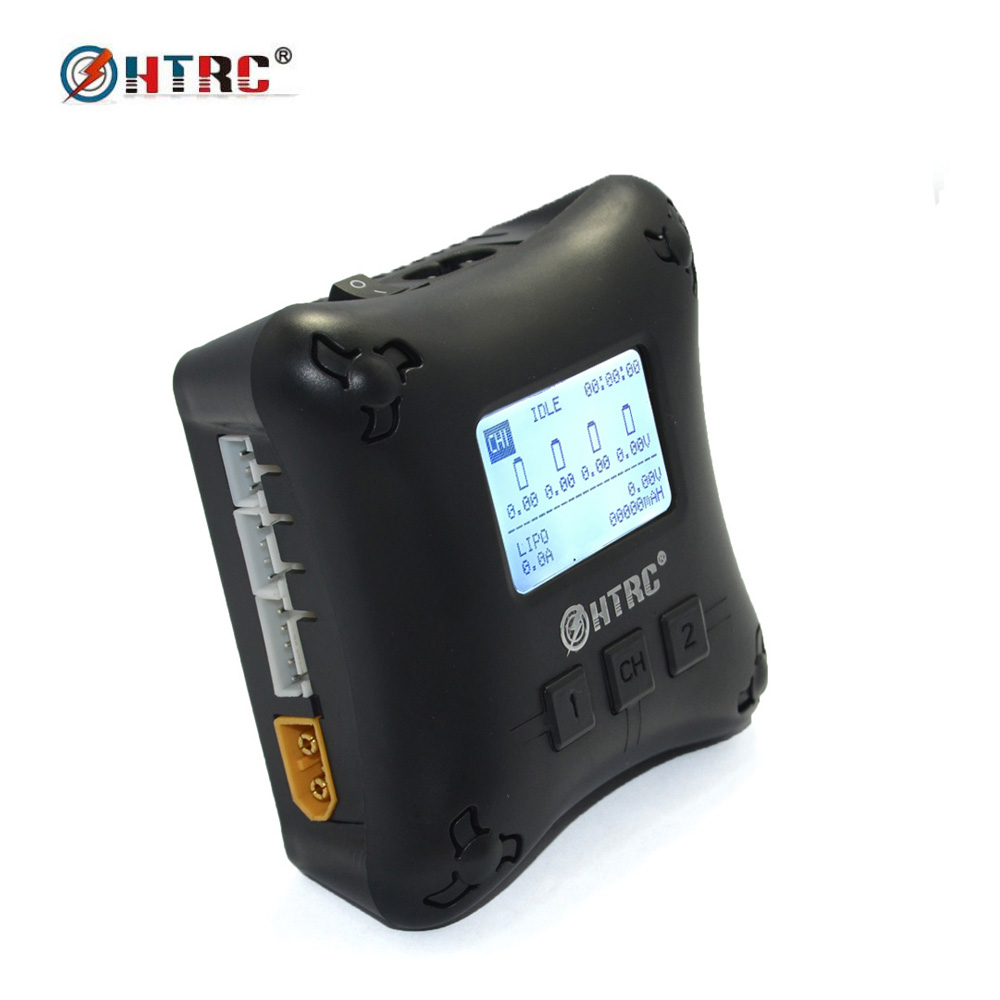 HTRC H4AC DUO Mini RC Charger Dual Port 20w x2 2A x2 for 2-4s Lipo Battery Charging duracell cef14 4 hour charger 2 x aa1300mah