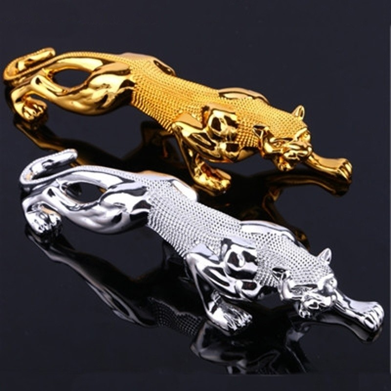 Gold Plating Leopard Sculpture Rhinestone Panther Animal Statue Arts Colophony Crafts Home And Car Dashboard Ornament L3178