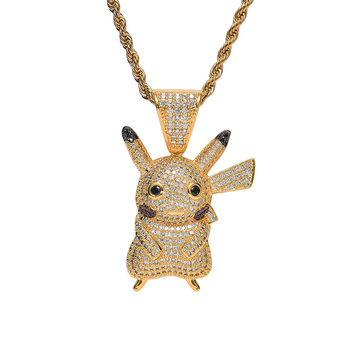 Cartoon character pokemon pikachu  hip hop pendant necklace, AAA zircon copper  bling bling iced out Cuban chain link necklace
