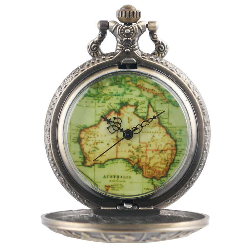YISUYA Vintage Hollow Bronze Constellations Case Australia Map Dial Necklace Pocket Watch Long Chain Retro Copper Steampunk Gift