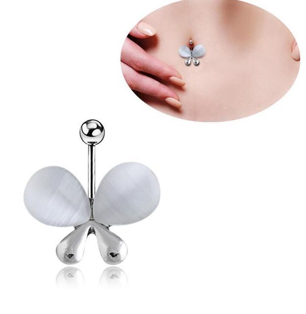 Tuyệt đẹp Boutique Móc Sắt Giả Opal Côn Trùng Bướm Navel Piercing Belly Nhẫn Anel Phẫu Thuật Thép Đồ Trang Sức