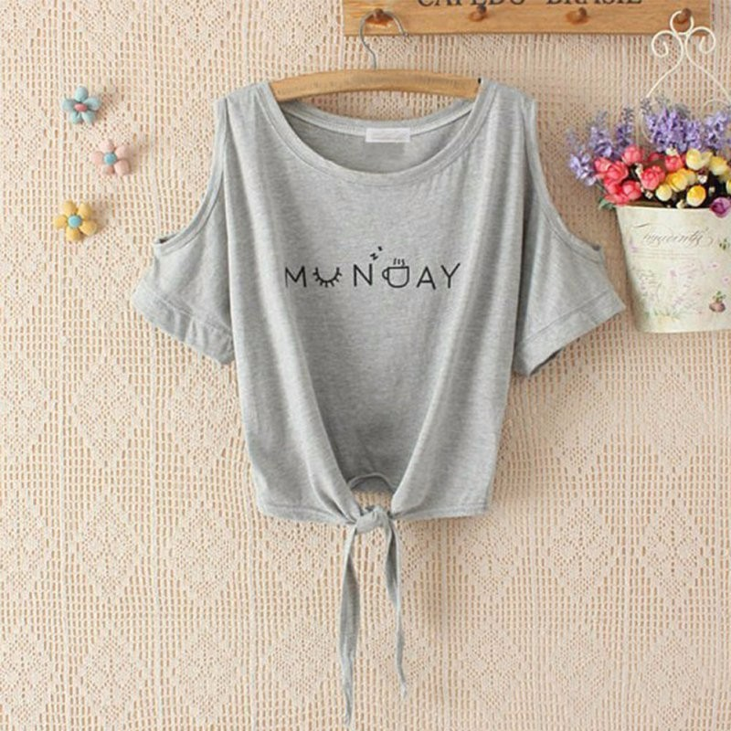 HTB1ORZXKpXXXXaPXVXXq6xXFXXXd - Women T-shirt Elegant Letter Shoulder Off Print Crop Top Short Sleeve