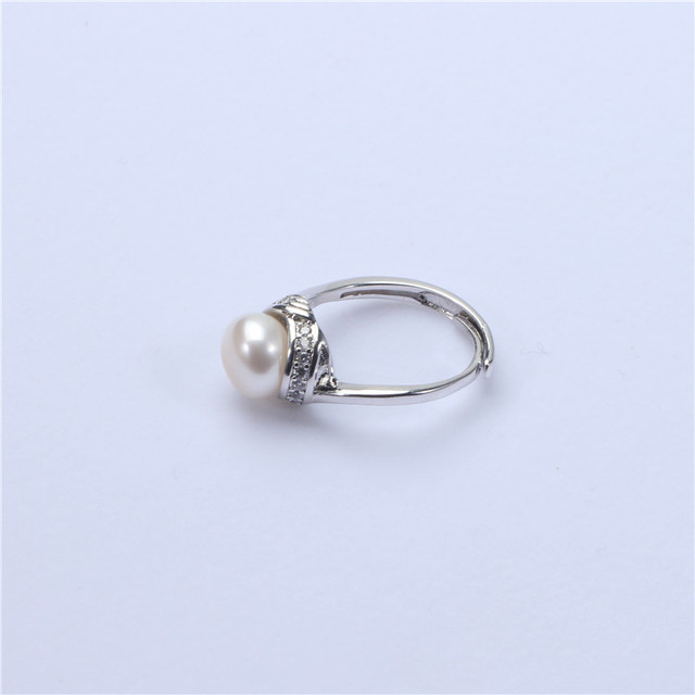 100% real freshwater pearl ring for women 925 sterling silver adjustable ring with zircon natural pearl jewelry