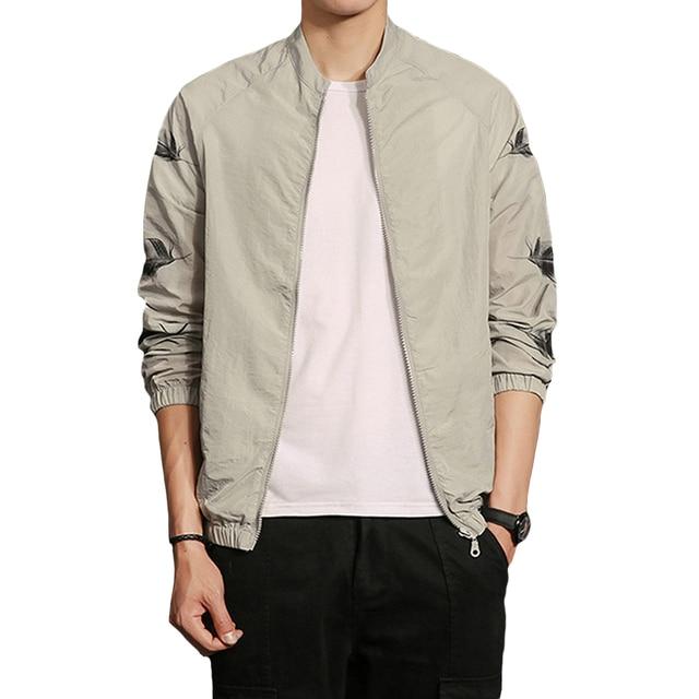 Feather Printed Summer Jackets Men Zipper Up Long Sleeve Slim ...