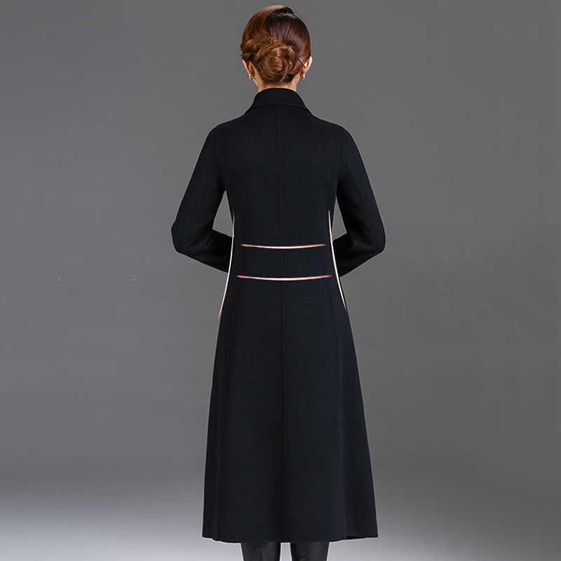Double-faced Wool куртка пальто Для женщин 2018 осень-зима высокое качество кашемир куртки длинное шерстяное пальто Тонкий Женский Верхняя одежда 393