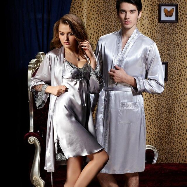 2017 New Arrival Rushed Solid Nightwear Lovers Robe Sets V Neck Silvery Grey Pyjamas Imitation Nightgowns Sleepwear Plus Size