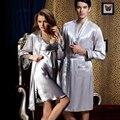 2017 Nueva Llegada Rushed Solid Amantes de Dormir Robe Sets V Cuello Gris Plateado Imitación Pijamas Camisones Ropa de Noche Más Tamaño