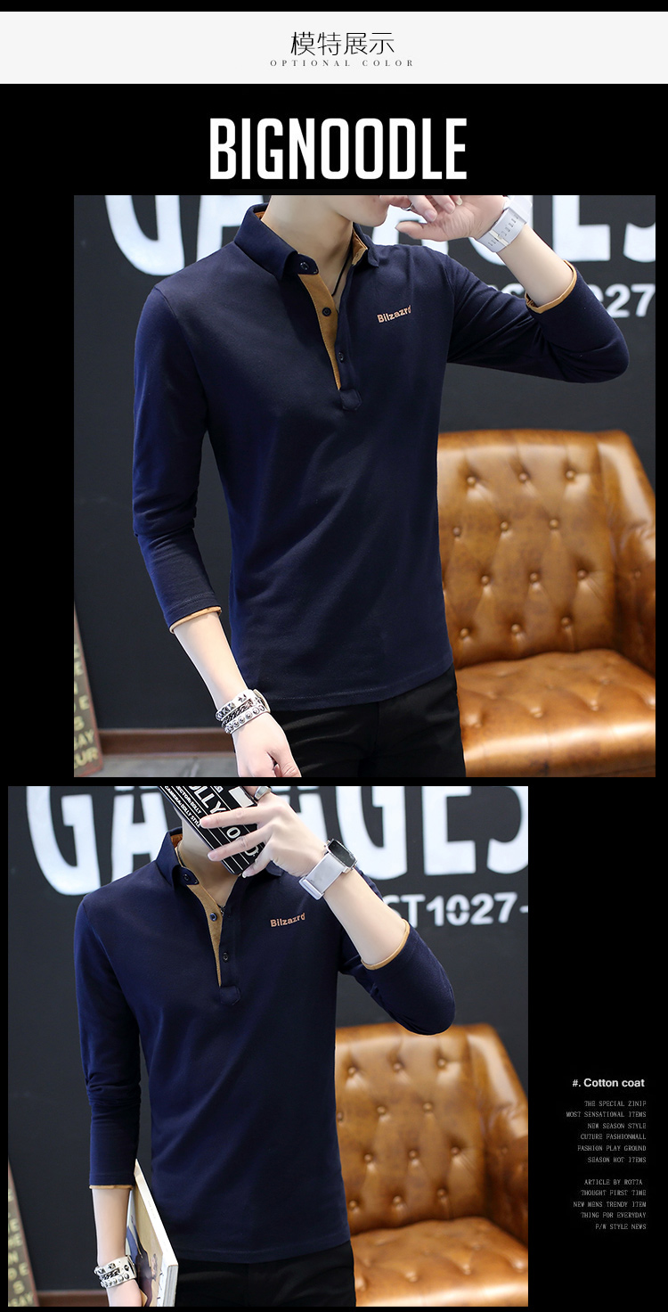 2019 men splicing t-shirts with short sleeves Comfortable in summer youth leisure lapel t-shirts 38