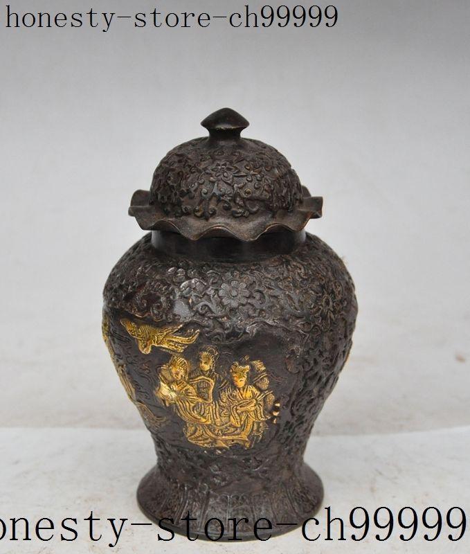 Noël chinois bronze doré belle beauté fille fée statue réservoirs Crock bouteille Pot halloween - 2