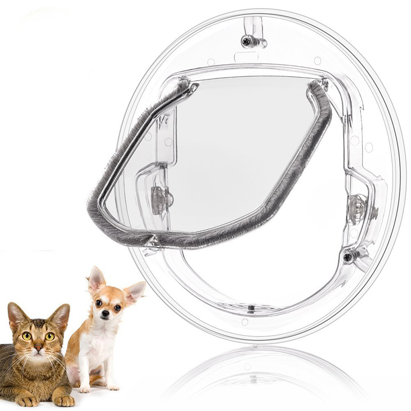 Transparent Pet Dog Flap Door Round Shape Plastic Household Dog Cat Gate Lockable Security Pet Entrance Puppy Hole Door Supplies