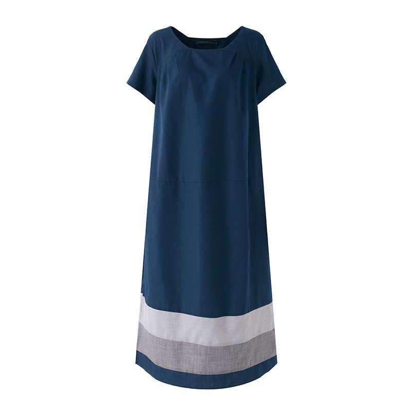 Yaz Sundress kadınlar Vintage kısa kollu pamuk keten elbise ZANZEA rahat gevşek Maxi Vestido artı boyutu Baggy tunik elbiseler