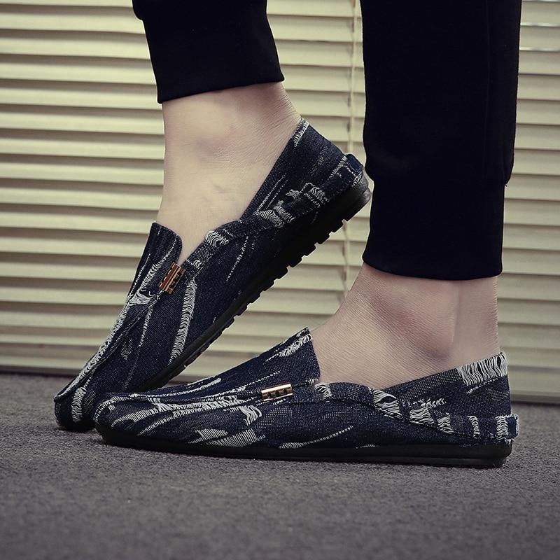 FOORAABO Brand Canvas Denim Loafers Men Casual Flat Shoes Slip On Fashion Cool Shoes Men 2017 Spring Summer Mocassin Homme hot sell summer men loafers 2016 fashion men flat shoes slip on men casual shoes