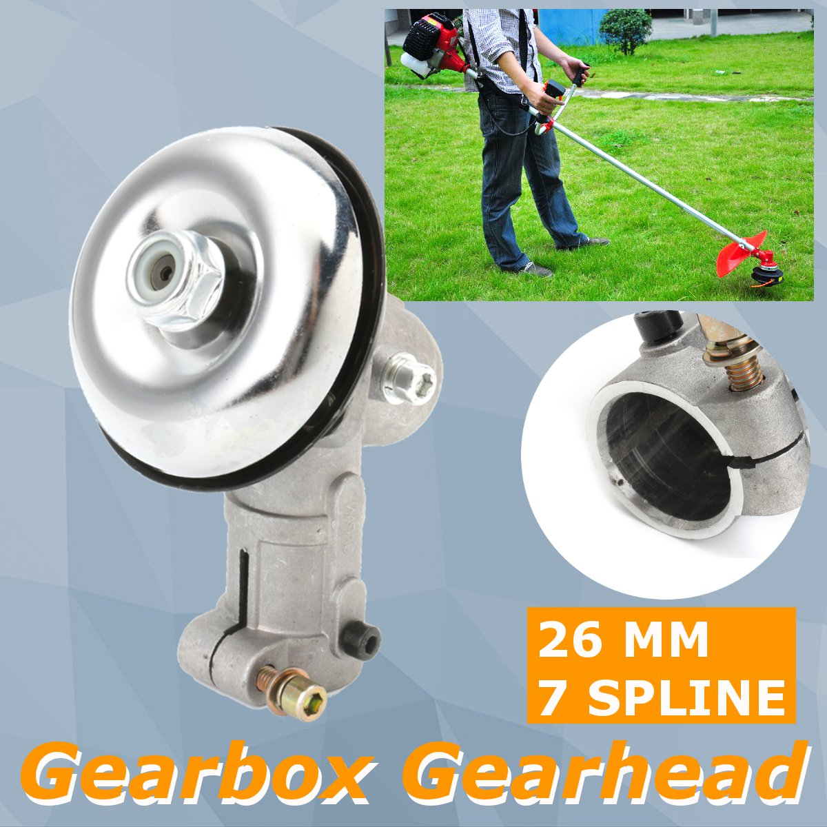 26mm 7 Spline Gearhead Gearbox For Trimmer Strimmer Brush Cutter Lawn Mower Fit Various Strimmer Trimmer Brush Cutter