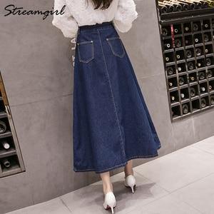 Image 3 - Streamgirl Denim Skirt Women Plus Size Korean Fashion Long Jeans Skirt Button Big Hem Casual High Waist Skirts Long For Women