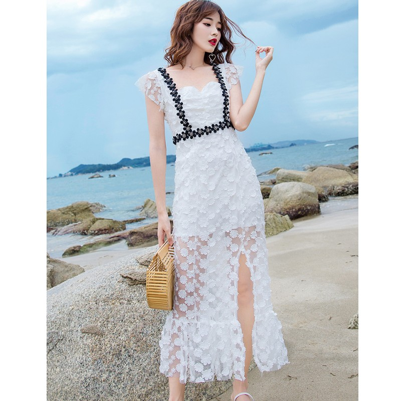 Summer Designer Lace Party Dress 2019 Runway Women Sexy Backless Bow Hollow Out Dress Vintage Beading Floral 3D Long Split Dress