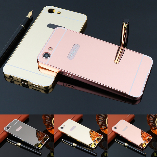 buy online b0cc2 03303 US $3.1 31% OFF|For OPPO A3 Case Rose Gold Mirror Case For OPPO A83 Back  Cover Mirror Aluminum Metal Bumper Hard PC Back Mobile Phone Cases-in  Fitted ...