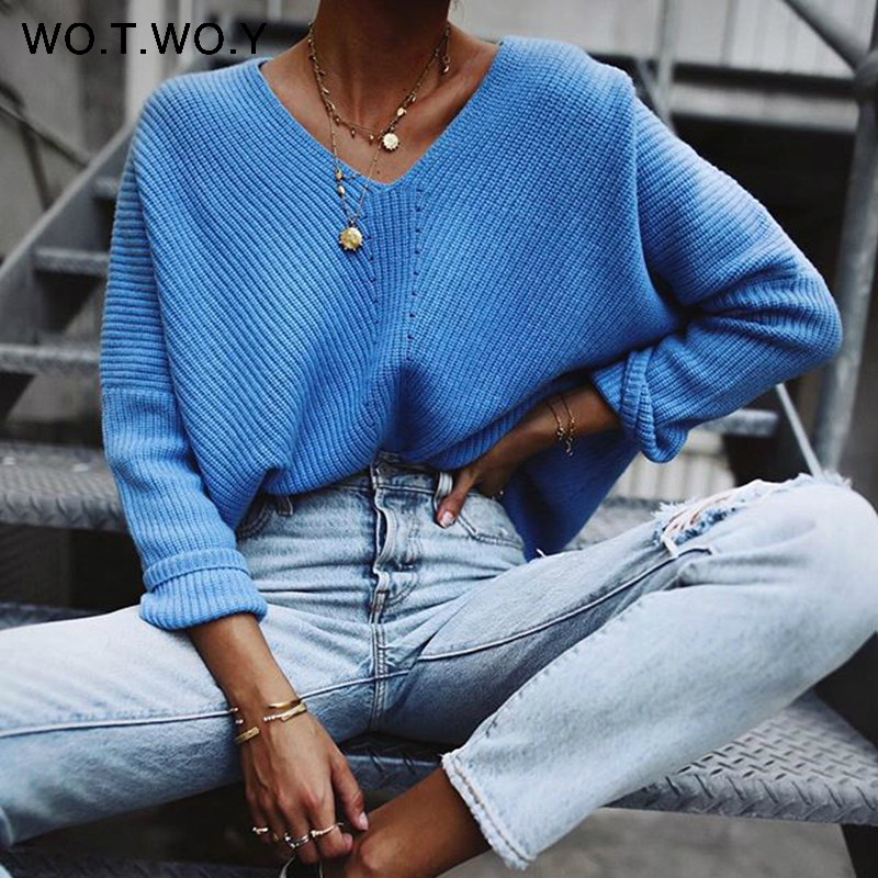 WOTWOY 2020 Autumn Winter Blue Knitted Pullovers Women Long Sleeve V-neck Cashmere Sweaters Women Casual Korean Female Jumper