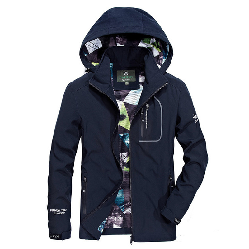 Mens   Trench   Coat Jacket Casual Solid Color Polyester Detachable Cap   Trench   2019 Spring Autumn Thin Jackets for Men Navy S118