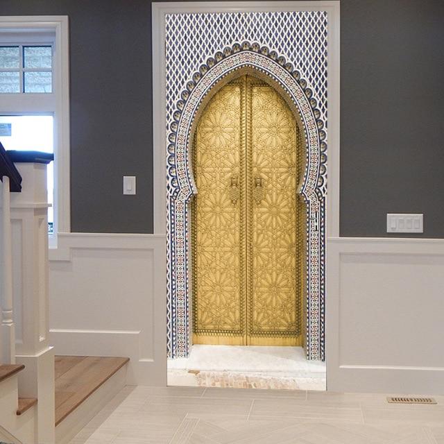 3D Muslim Golden Gate Door Sticker Ramadan Decoration Living Room Bedroom  Door Creative Home Decoration Removable