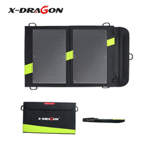 X-DRAGON Solar Charger 14W 5V 2A USB Solar Panel Foldable Waterproof Power Bank for Smartphone