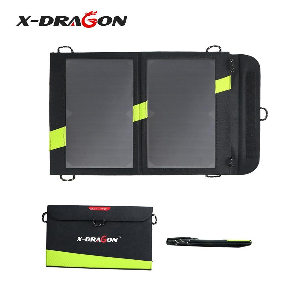 X-DRAGON chargeur solaire 14 W 5 V 2A USB panneau solaire Pliable Étanche batterie externe pour Smartphone