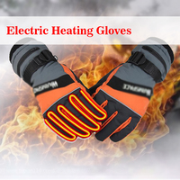 1 Pair Motorcycle Bicycle Snow Winter Outdoor Work 3.7V Electric Heated Gloves +2x2000MAh Rechargeable Battery Hands Warmer