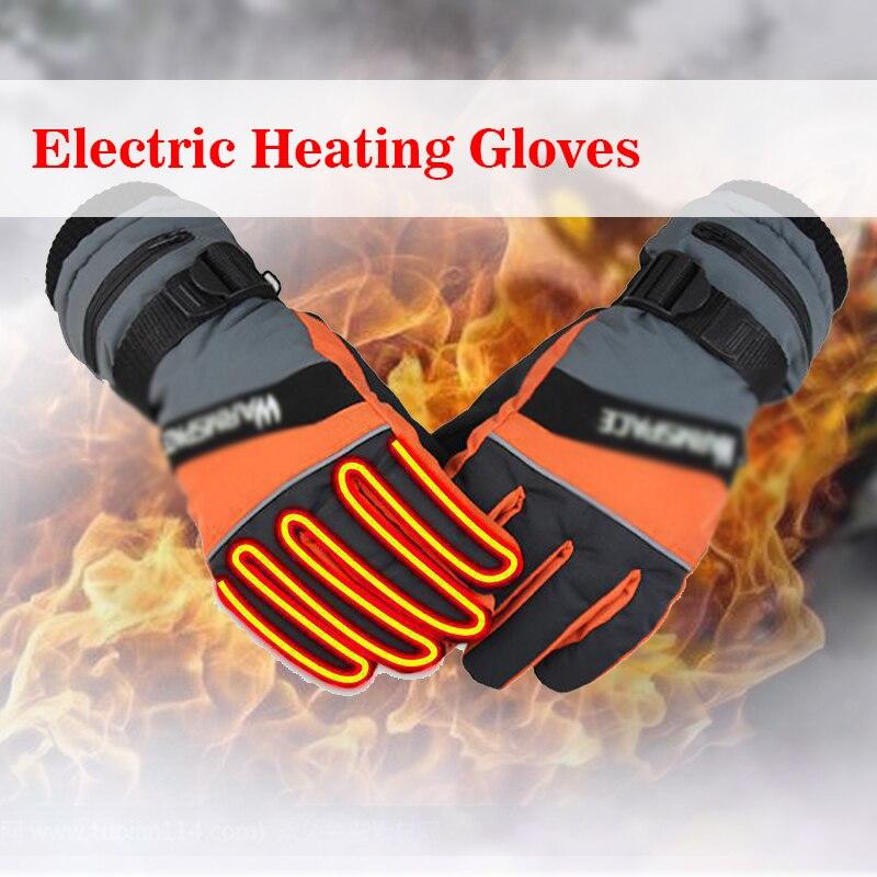 1 Paar Motorrad Fahrrad Schnee Winter Outdoor Arbeit 3,7 V Elektrische Beheizte Handschuhe + 2x2000 Mah Akku Hände Wärmer