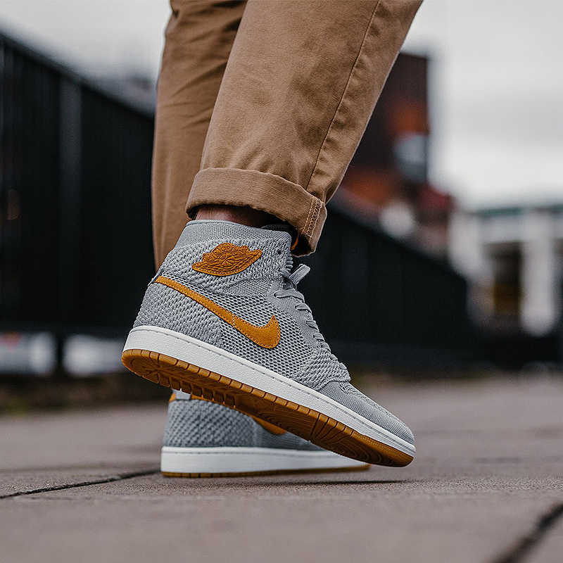 new style a4110 5ad4a Original Authentic Nike Air Jordan 1 Retro Hi Flyknit AJ1 Men's Basketball  Shoes Sport Outdoor Sneakers Athletic 919704-006