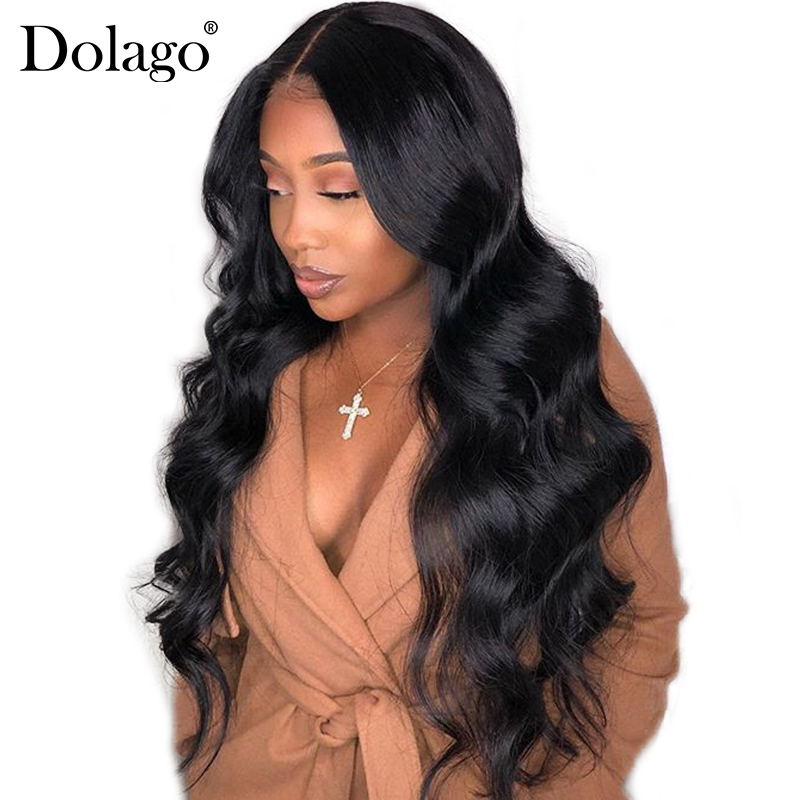 250% Tetthet Lace Front Human Hair Parykker For Women Pre Plukket Med Baby Hair Black Body Wave Brazilian Lace Paryk Dolago Remy