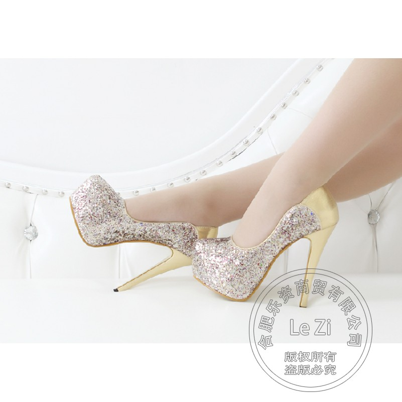 Gold Club Pumps Leather font b Women b font Pump Stiletto Glitter Silver Single Shoes High