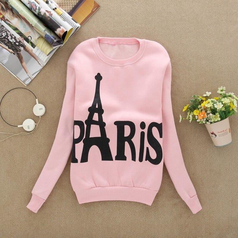 XUANSHOW Fashion Spring Autumn Women's Long Sleeved Slim Sweatshirts Printed Paris Pullover Sweatshirts Clothing Sudaderas Mujer