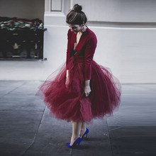 Romantic Wine Red Tulle Skirt Outfit Custom Made Extra Puffy Saia Midi Skirts Womens Burgundy Elastic Waist Lolita Falda Jupe