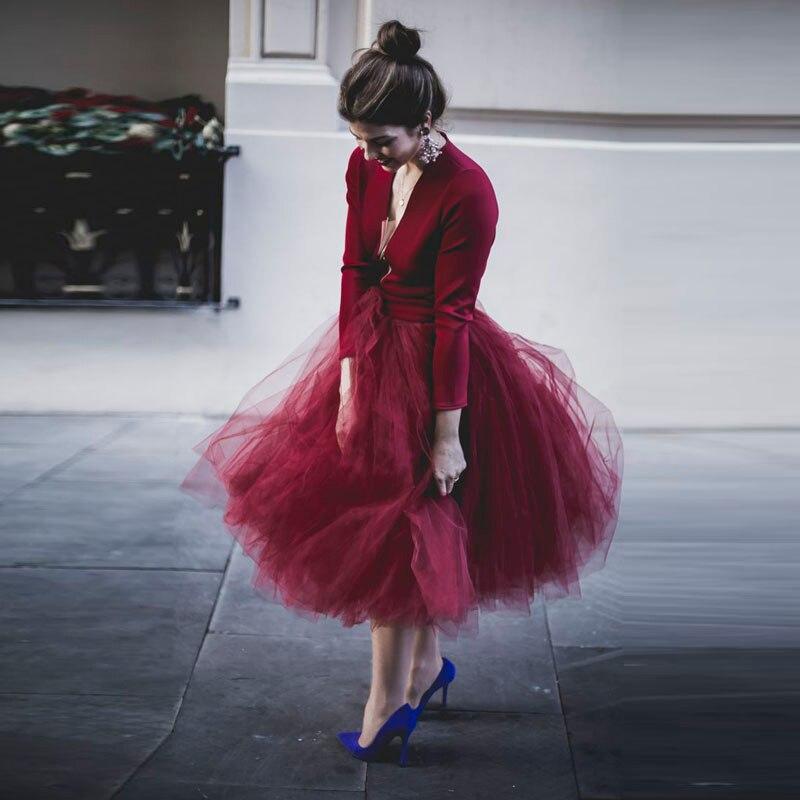 43ae2690f Vino rojo romántico tulle falda por encargo extra puffy SAIA MIDI Faldas  mujer Borgoña elástico ...