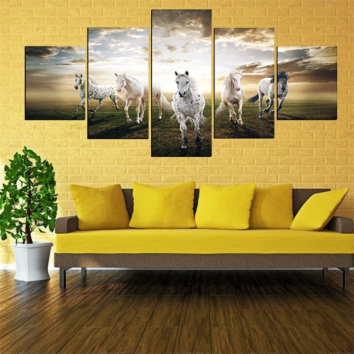 5 Panels Running Horse Morden Painting Canvas Wall Art Picture ...