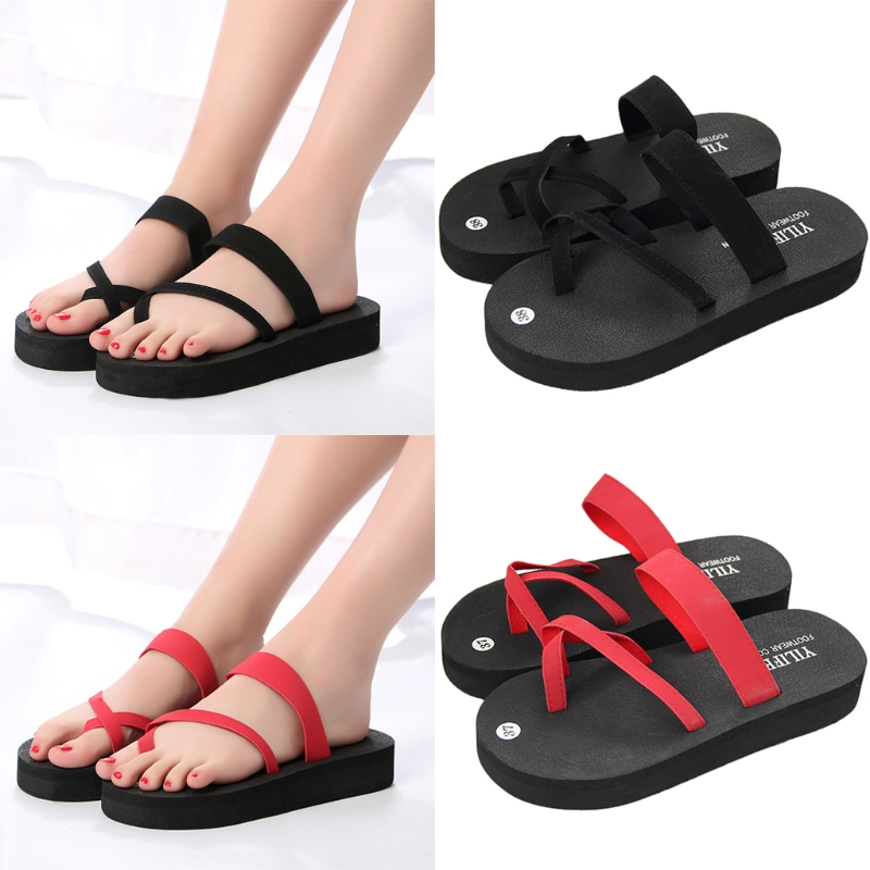 f76e69a4cf2 7311 New 2018 Summer Flip Flops Platform Cross Wedges High Heel Beach  Sandals Women-in Flip Flops from Shoes on Aliexpress.com