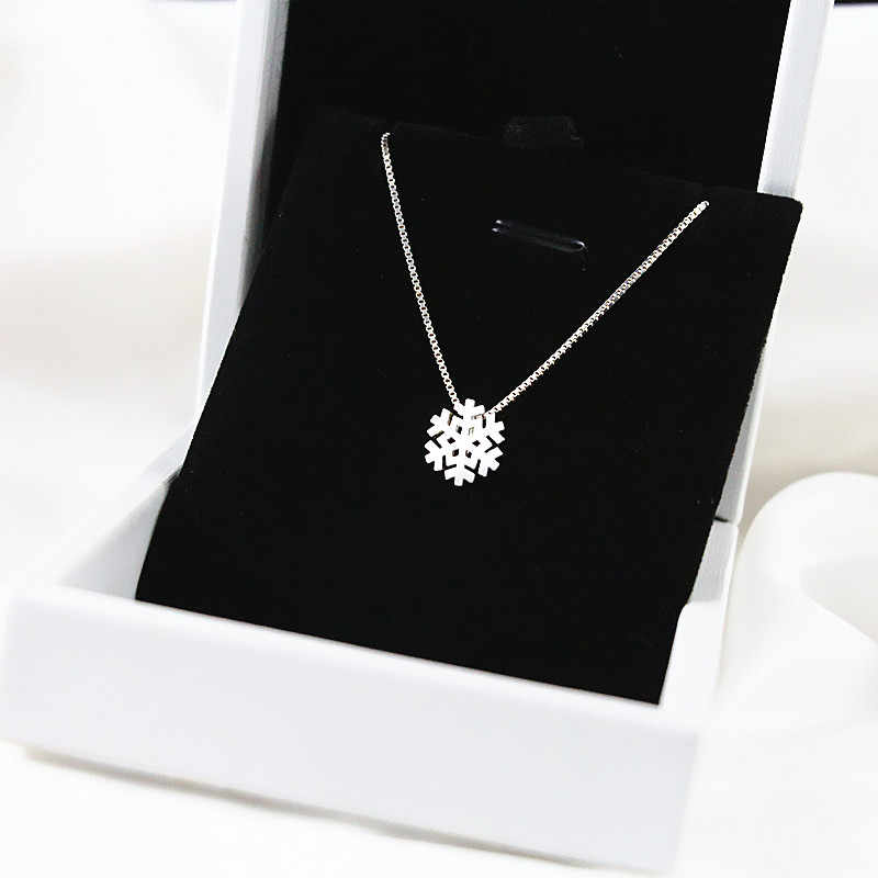Fashion Jewelry 925 Sterling Silver Snowflake Necklaces Pendants For Women Long Chain Necklaces Collar Mujer Collares