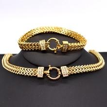 AMUMIU 2020 neue ankunft Männer Kette Halskette Armband Sets Spezielle Lock Edelstahl Schlange Frauen gold Farbe Schmuck HZTZ125