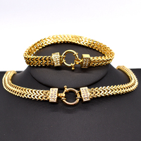 AMUMIU 2020 new arrival Men Chain Necklace Bracelet Sets Special Lock Stainless Steel Snake Women gold Color Jewellery HZTZ125