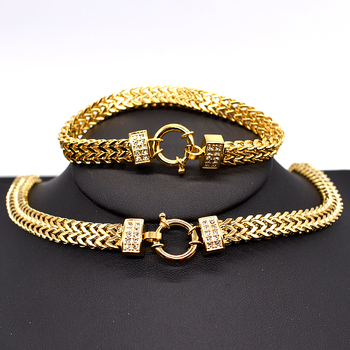 AMUMIU 2017 new arrival Men Chain Necklace Bracelet Sets Special Lock Stainless Steel Snake Women gold Color Jewellery HZTZ125