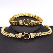 AMUMIU Conjunto de collar y pulsera de cadena de acero inoxidable para hombre y mujer, set de pulsera de Color dorado con cierre especial, estilo serpiente, HZTZ125, 2020