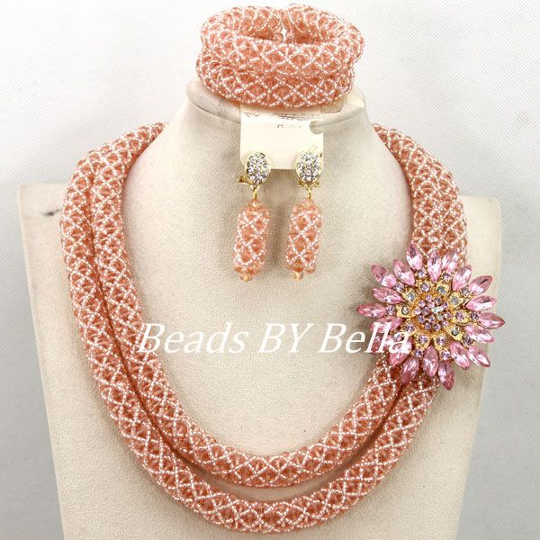 Charming Peach Crystal Beads Handmade African Jewelry Set Wedding Party Beads Necklace Women Fashion Set Free Shipping ABY337 allure charming party magic set