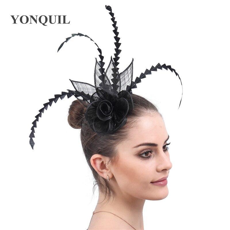 Noir vintage dames cheveux fascinator chapeaux de mariée fête de mariage élégant chapeaux église occasion coiffure avec accessoire de plume