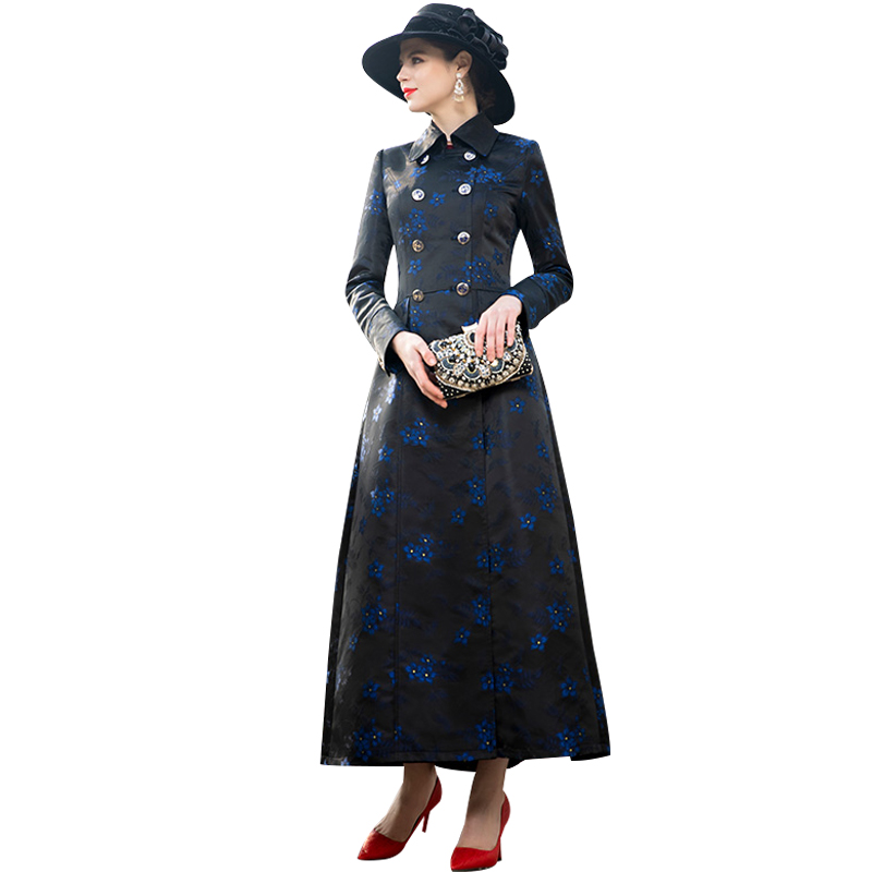 Spring Autumn Floral Long Coat Plus Size Luxury Runway   Trench   Women Double Breasted Outwear Coat DZ2064