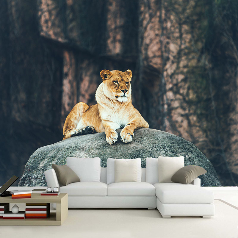 Custom HD Photo Wallpaper 3D Stereoscopic Animal Lion Leopard Mural Wallpaper Living Room Bedroom Sofa Backdrop Murals Wallpaper large yellow marble texture design wallpaper mural painting living room bedroom wallpaper tv backdrop stereoscopic wallpaper