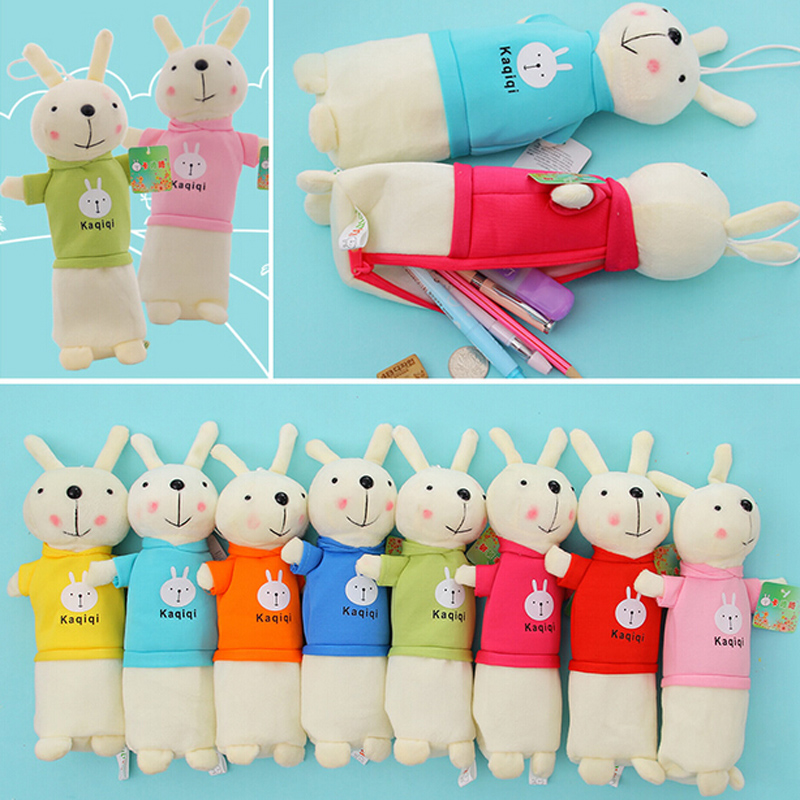 1X Kawaii Cute Rabbit Bunny Pencil Case Pen Bag Holder Storage Stationery School Supplies Cosmetic Makeup Bag Birthday Gift