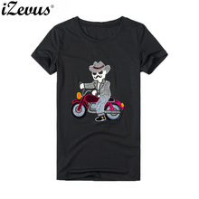 IZEVUS moda mujer manga corta cuello redondo diseño Vintage Hombre motociclista algodón ajustado adecuado para chicas Camisetas Mujer algodón cómodo