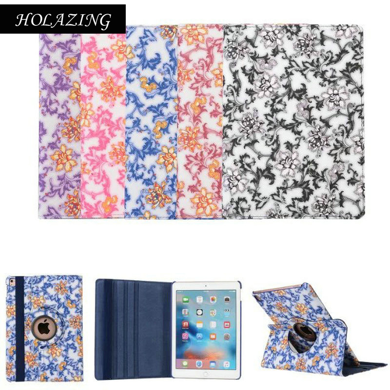 HOLAZING Multi-angle View Swivel Stand Cover Flower Porcelain 360 Degree Rotating PU Leather Flip Smart Case for iPad Air 2