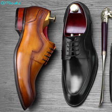 2019 New Formal Shoes Men Lace-up Luxury Dress Shoe Genuine Leather Italian Wedding Office Party Handmade Oxford Shoes northmarch italian lace up men genuine leather men wedding brogue formal dress business party office black oxford shoes scarpe
